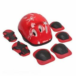 7Pcs Elbow Wrist Knee Pads and Helmet For Kids Skate Cycling