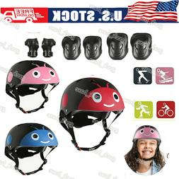 7Pcs Knee Elbow Wrist Helmet Protective Gear Set Kids Roller