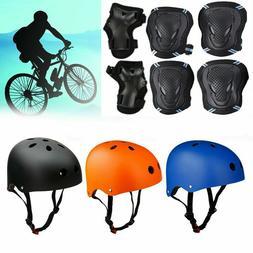 Adult Kids Protective Helmet+Protector Gear Set Bike Cycling