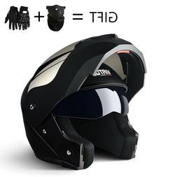 DOT Approval Motorcycle Helmet Modular Dual Lens Flip Up Mot
