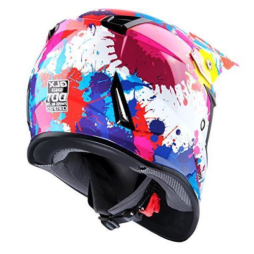 GLX DOT Youth Motocross Helmet Off Pink+Goggles+Gloves