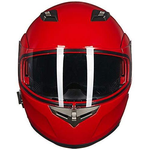 ILM Bluetooth Integrated Modular Flip up Full Face Motorcycle Helmet Sun Shield Mp3 Intercom M, WHITE
