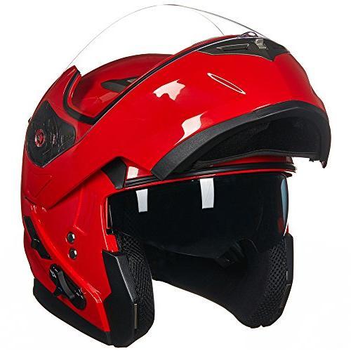 ILM Bluetooth Integrated Modular Flip up Full Face Motorcycle Helmet Sun Shield Mp3 Intercom M, RED