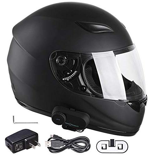 Yescom Full Face Helmet Helmet with Wireless Headset Intercom FM