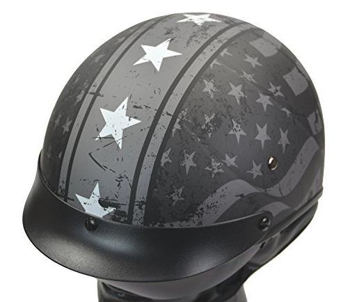 Vega Warrior Half Sunshield for & Adjustable Half Skull Cap for Bike Cruiser Moped