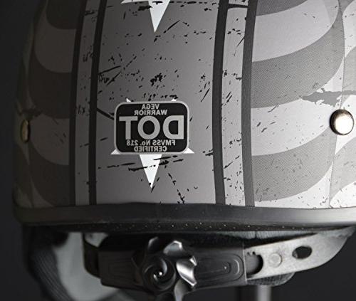 Vega Helmets Warrior Half with for Adjustable Dial Half Skull for Bike Cruiser Moped ATV