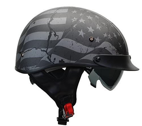 warrior motorcycle half helmet with sunshield