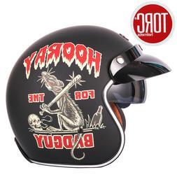 Motorbike Motorcycle Helmet Retro Chopper Style Route 66 Eas